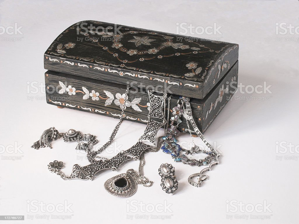 Silver Jewelry Old Box royalty-free stock photo