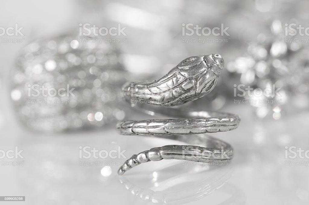 Silver jewelry. stock photo