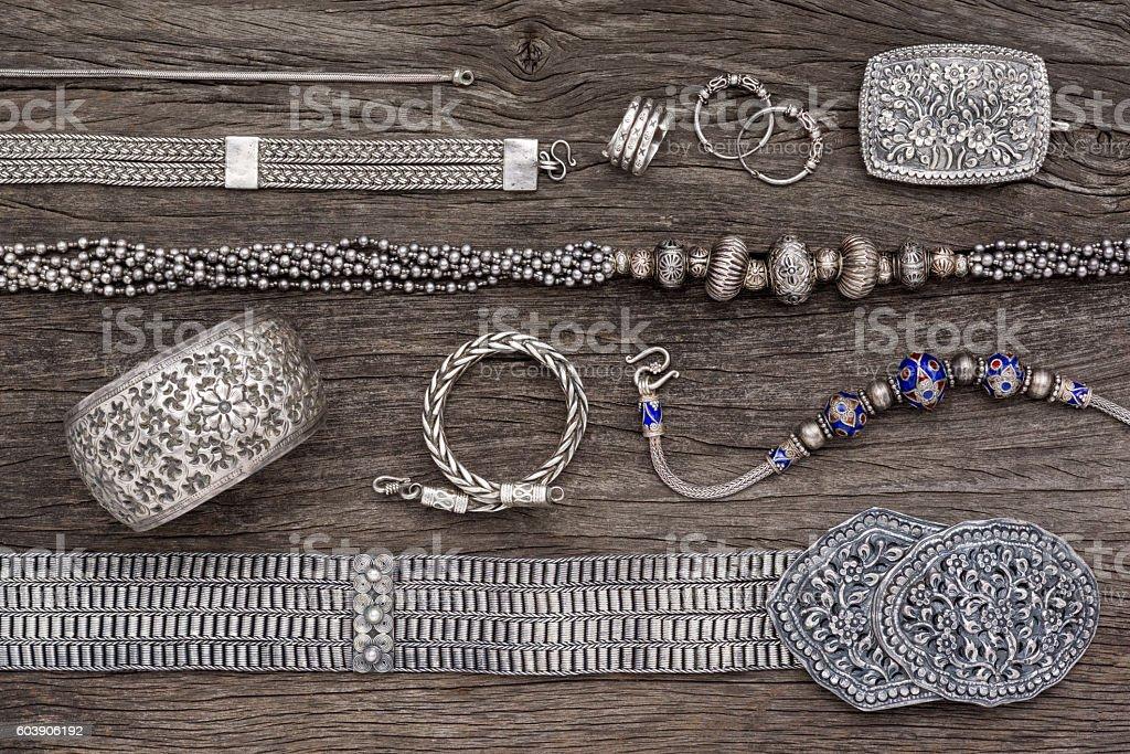 silver jewelry stock photo