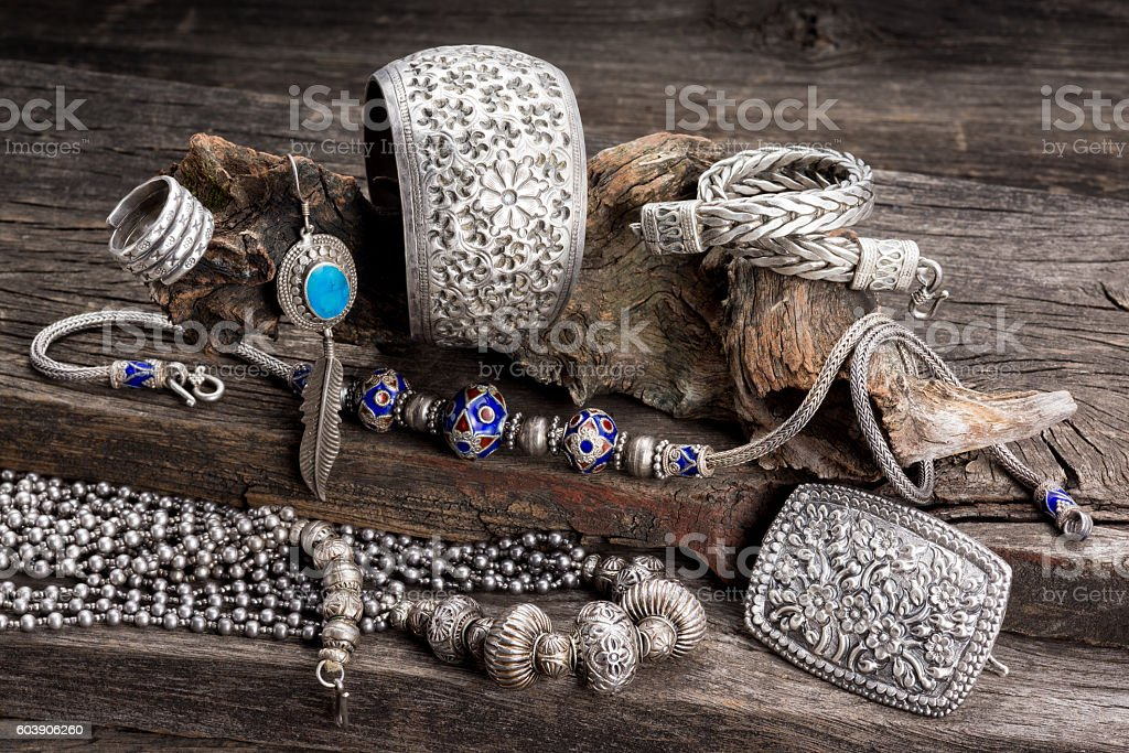 silver jewelry stock photo