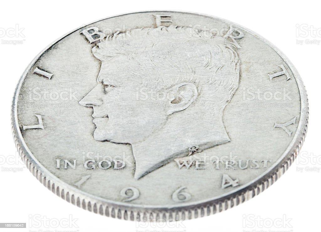 Silver Kennedy Half Dollar - Heads High Angle stock photo