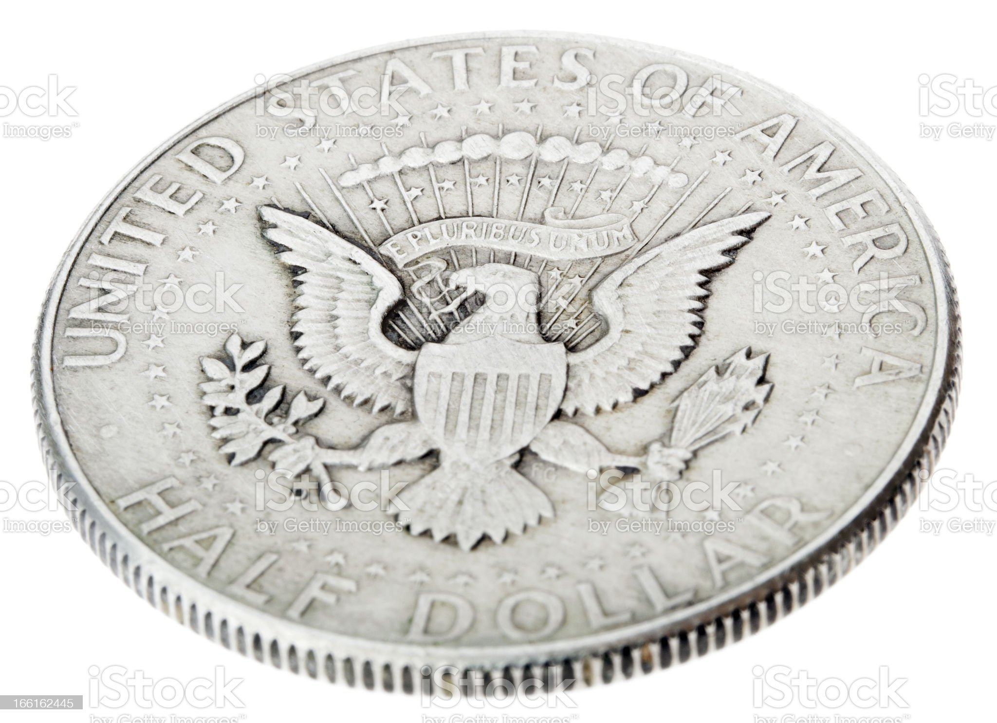 Silver Kennedy Half Dollar - Tails High Angle royalty-free stock photo