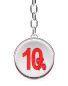 Silver key chain with red 10 percent discount