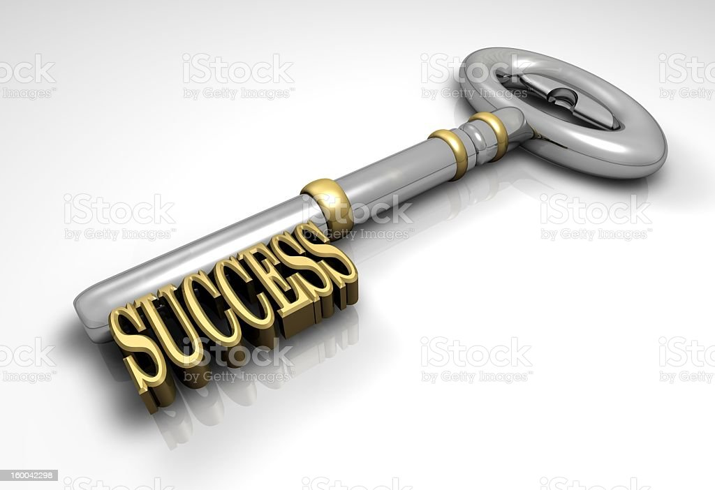 Silver key with Success in gold on a white background stock photo