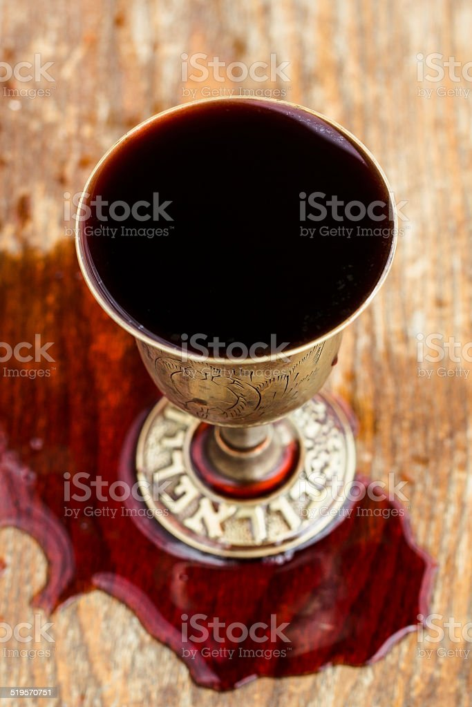 Silver kiddush wine cup , judaica stock photo
