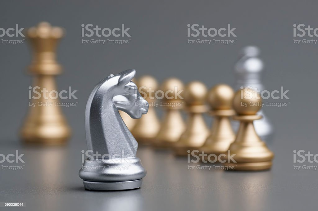 Silver Knight chess stock photo