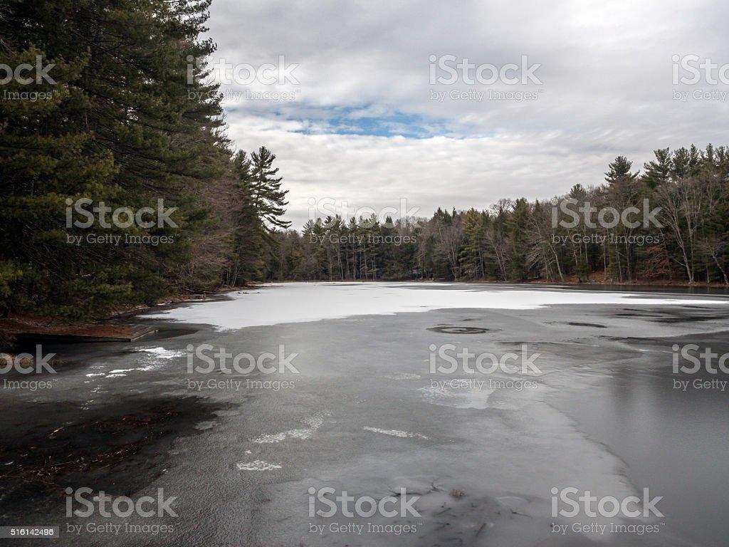 Silver Lake in Sullivan County ion winter stock photo