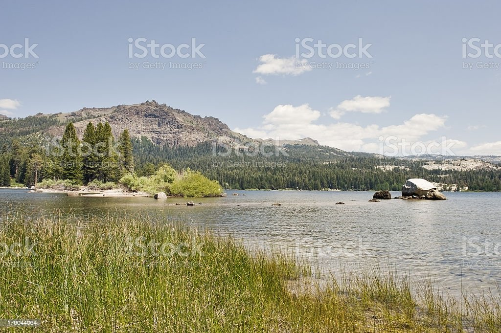 Silver Lake with grass stock photo