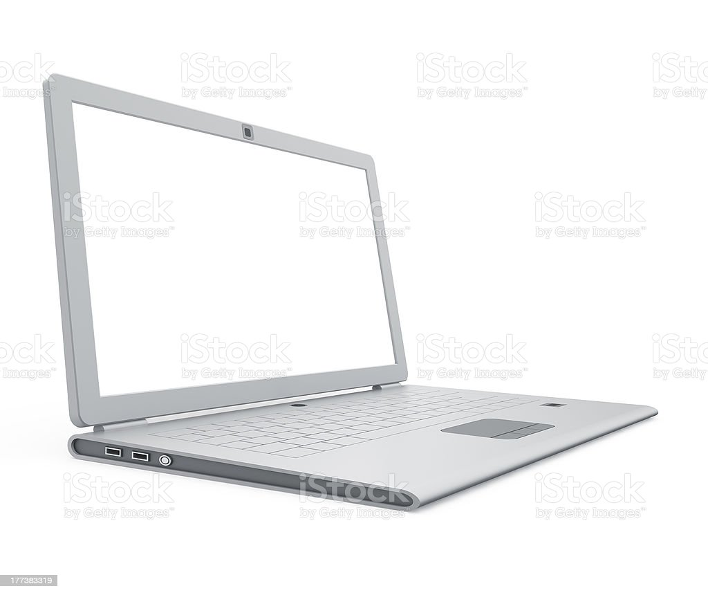 Silver laptop angle view royalty-free stock photo