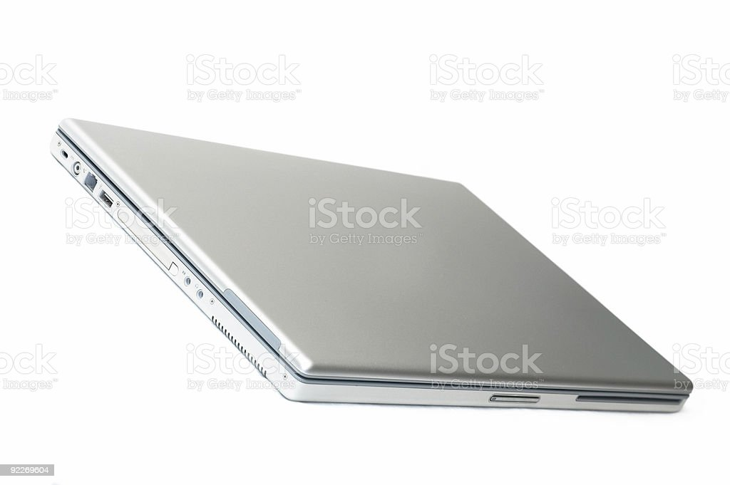 Silver laptop closed #2 royalty-free stock photo