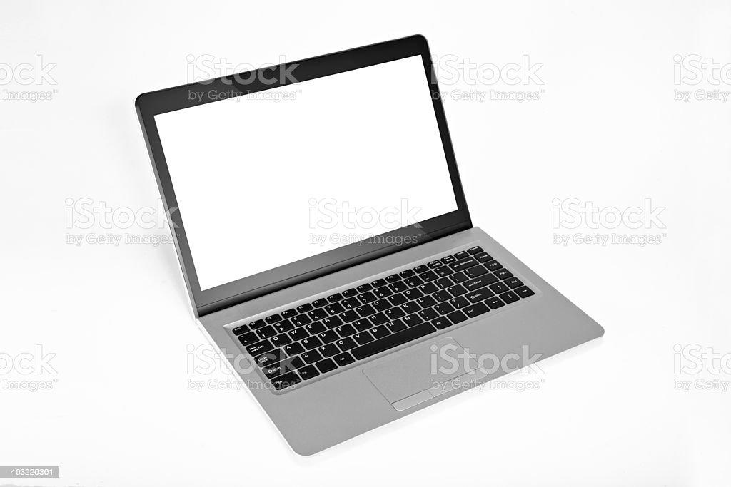 Silver Laptop stock photo
