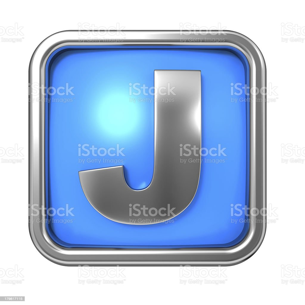 Silver Letter in Frame, on Blue Background. royalty-free stock photo