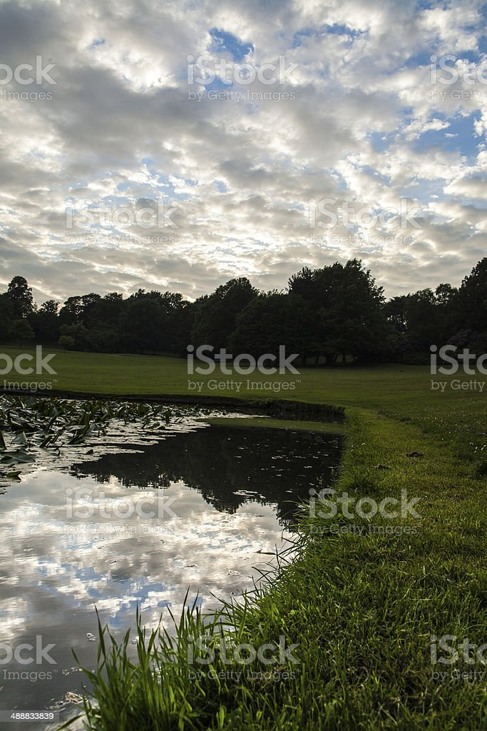 silver lining park sunset stock photo