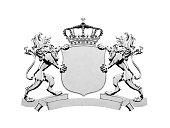 Silver lion crest banner