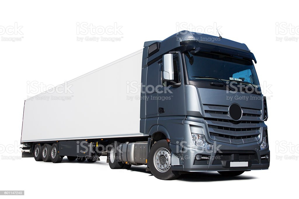 Silver Lorry big truck on white background stock photo