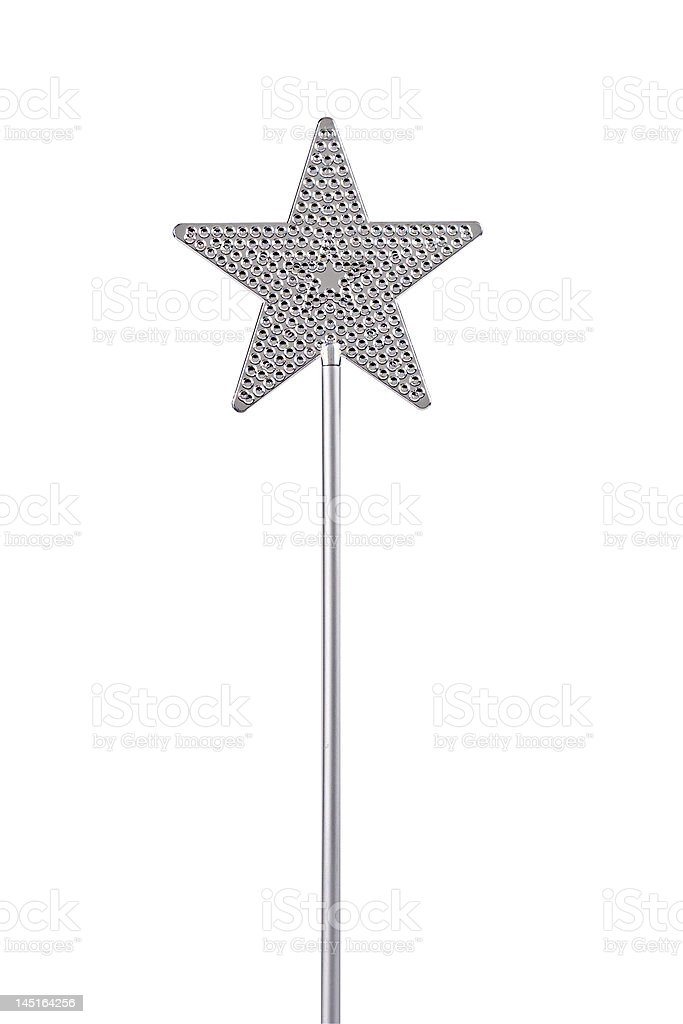 Silver magic wand with star on the top stock photo