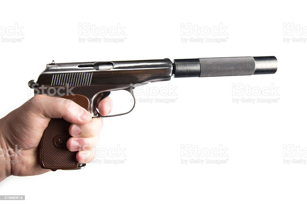 Silver makarov pistol with black silencer stock photo