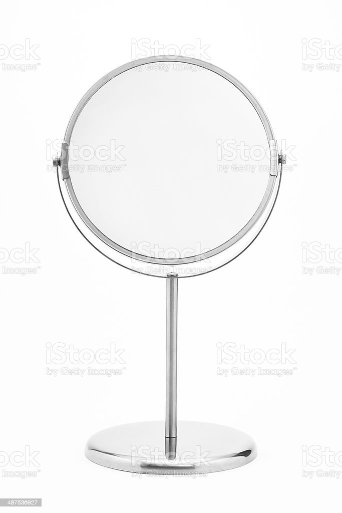 silver makeup mirror isolated stock photo