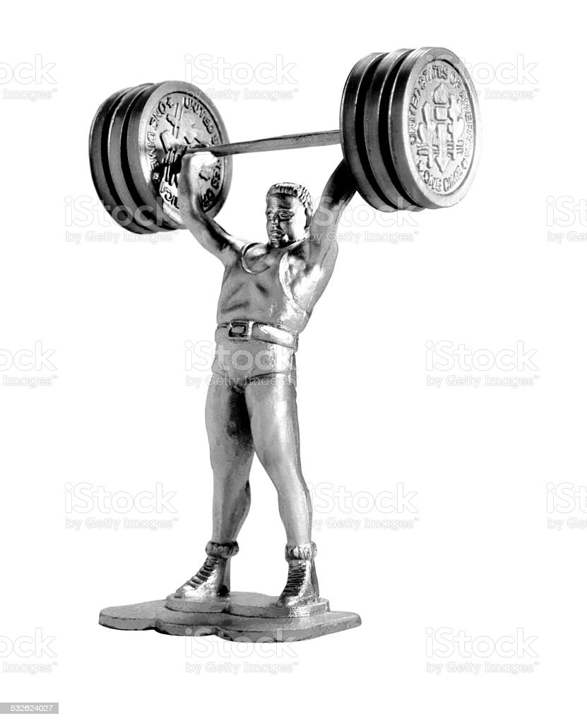 Silver Man Lifting Weights stock photo