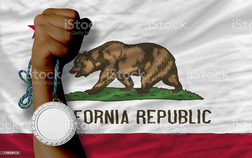 Silver medal for sport and  flag of california royalty-free stock photo