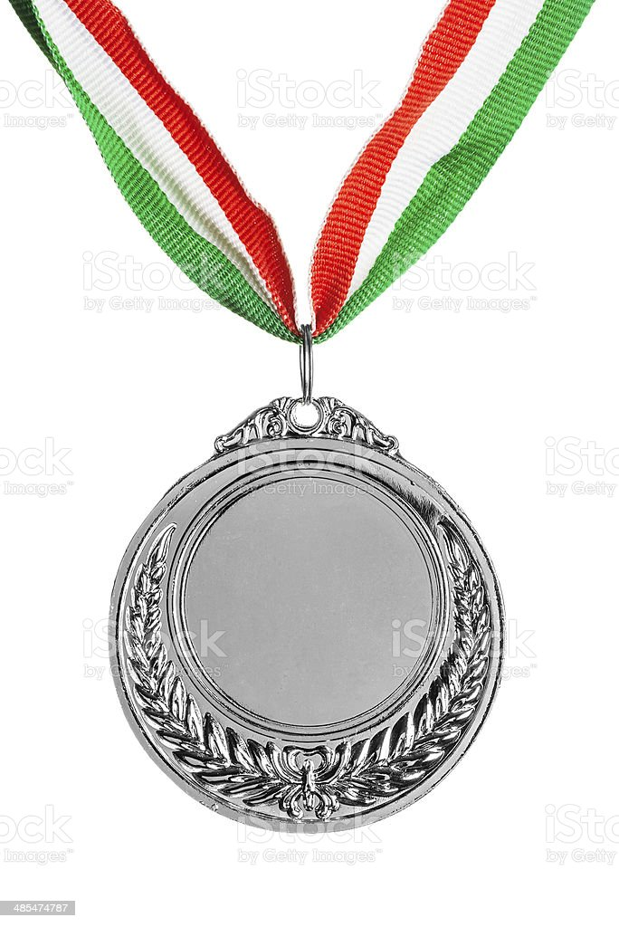 Silver medal isolated on white stock photo