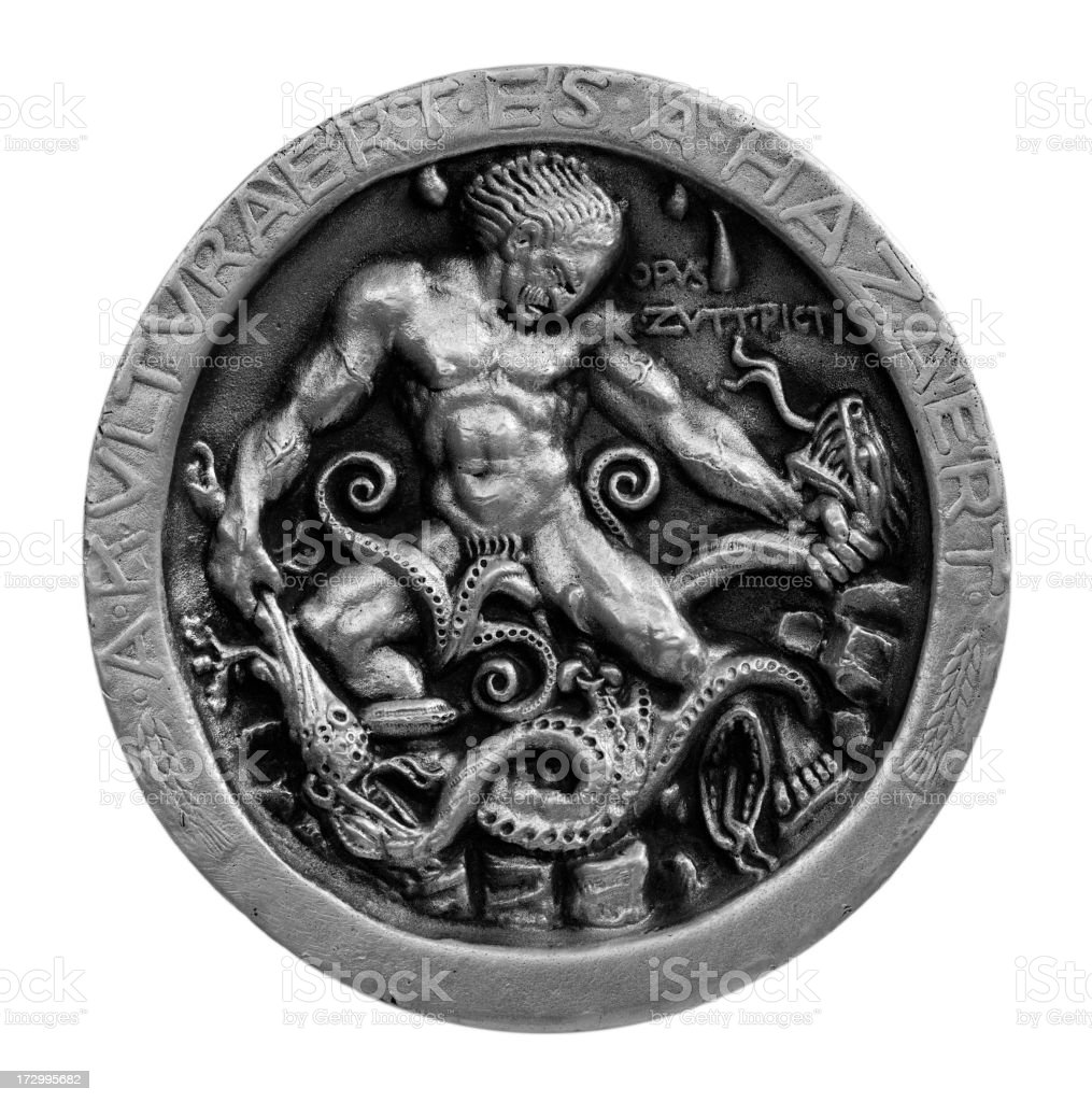 Silver medal of Hercules slaying the Hydra royalty-free stock photo