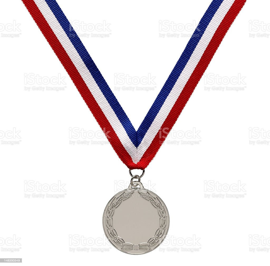 silver olympic medal on ribbon stock photo