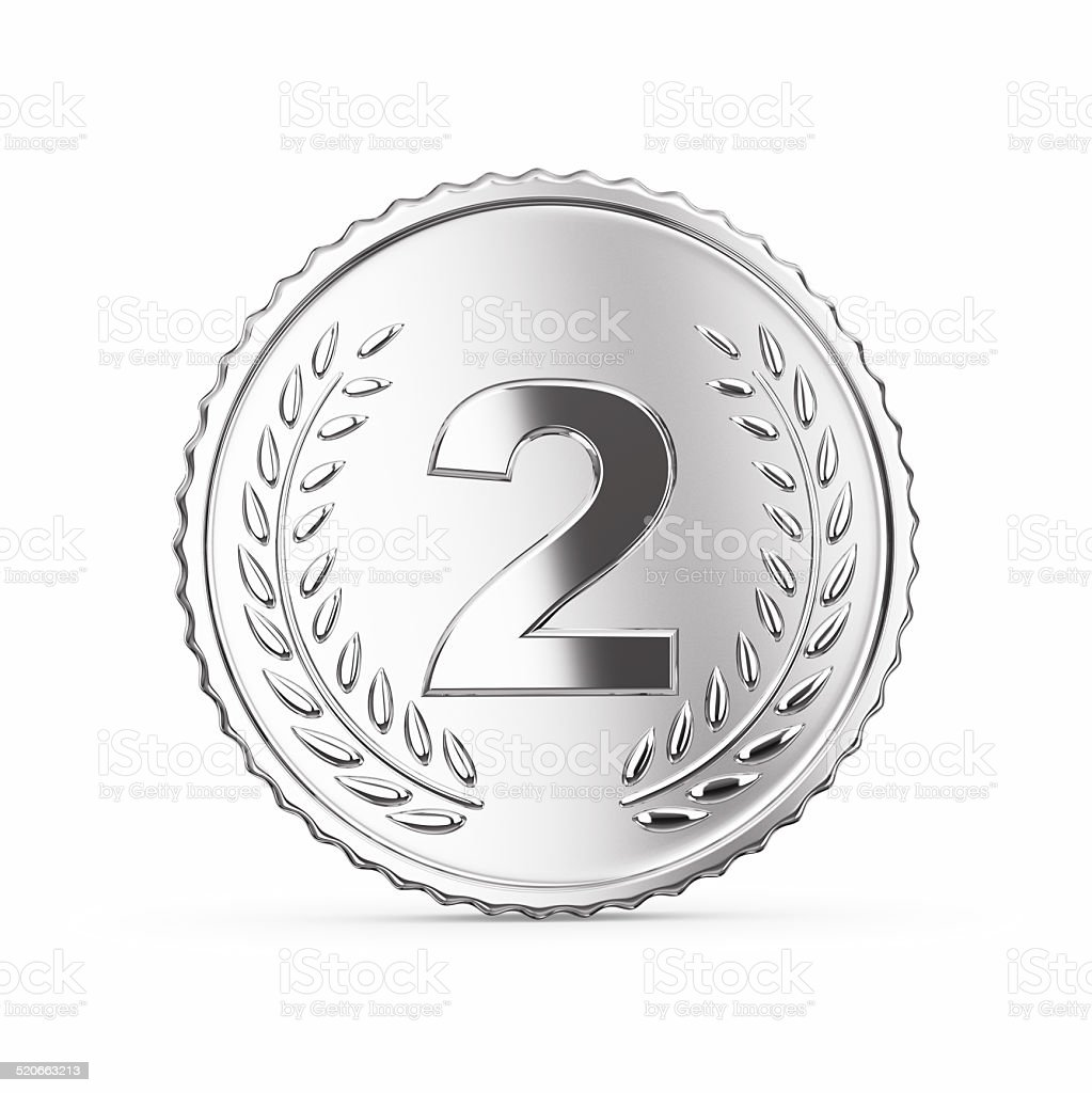 Silver medal on white stock photo