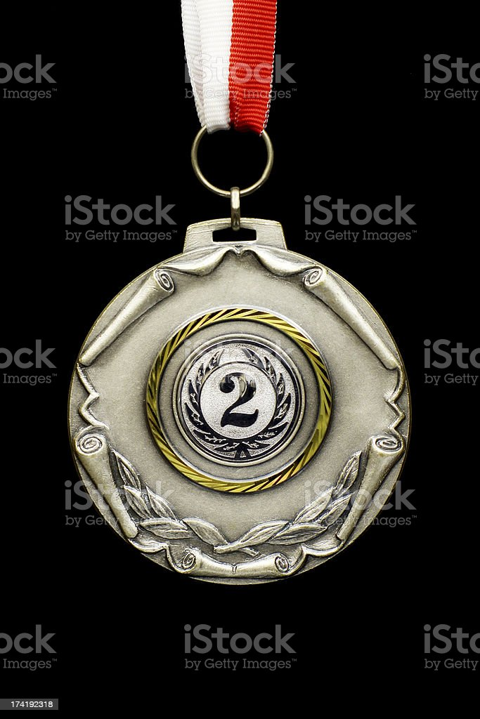 Silver medal winner stock photo