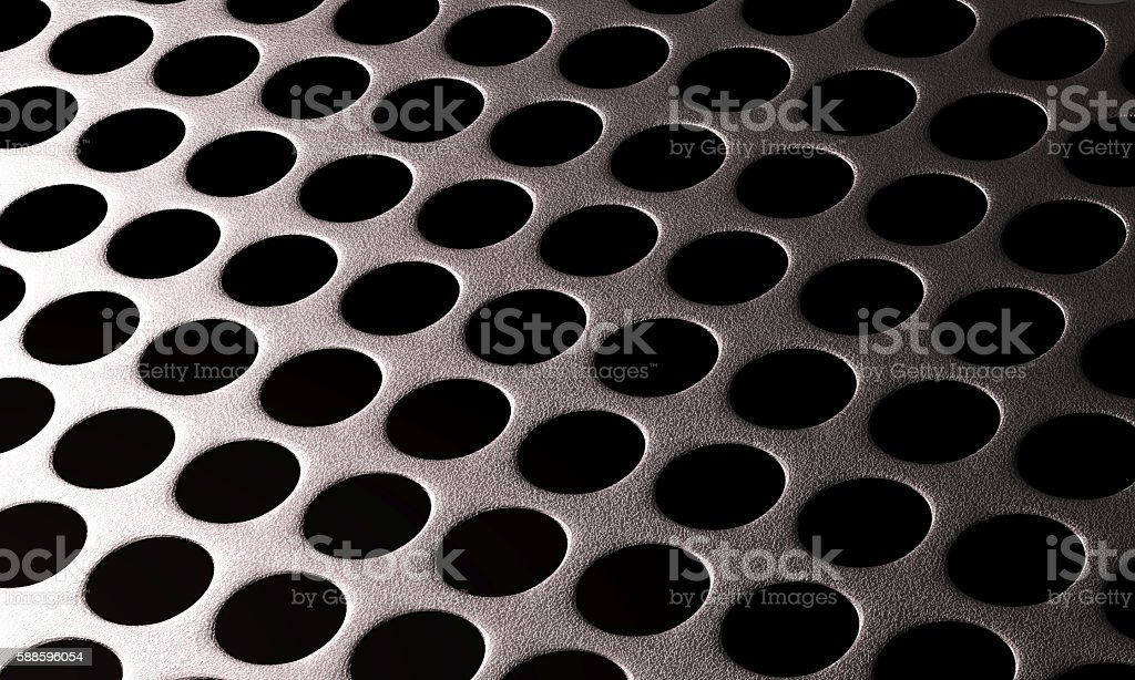 silver metal background with round hole and lighting reflection stock photo