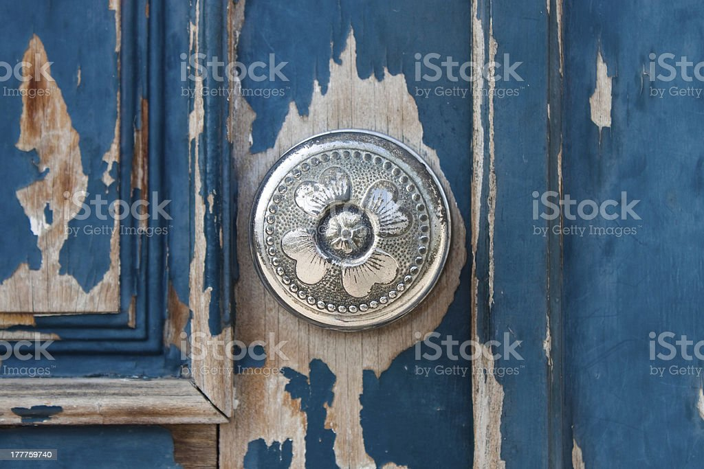Silver metal door knob stock photo