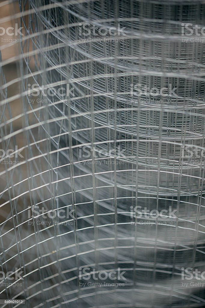 Silver Metal grid stock photo