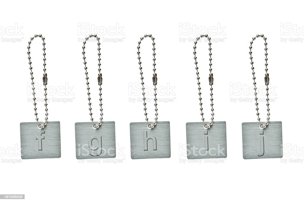 Silver metal key tag with small letter f-j stock photo