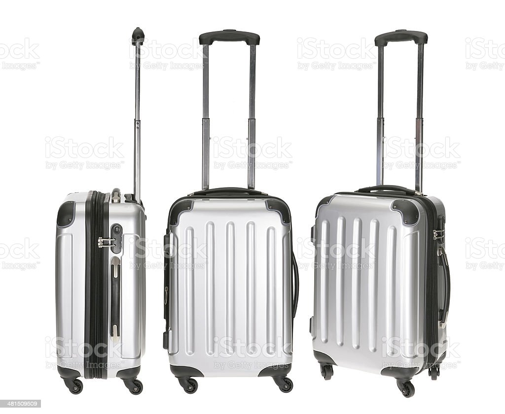 Silver metal luggages front and side view on white background stock photo