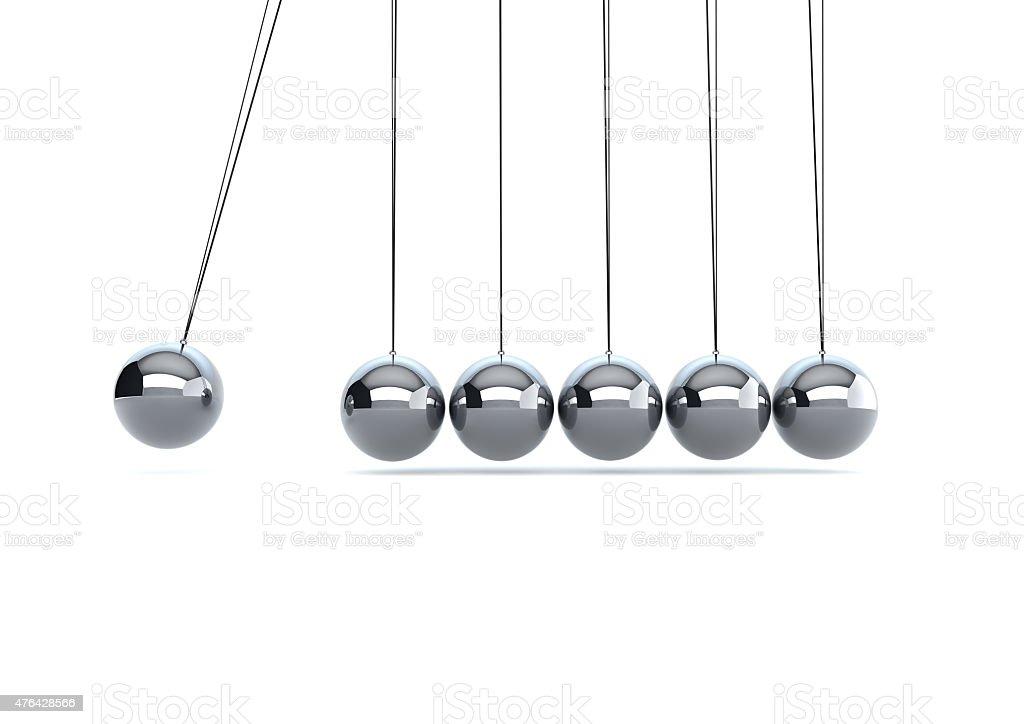 silver metal newtons cradle stock photo