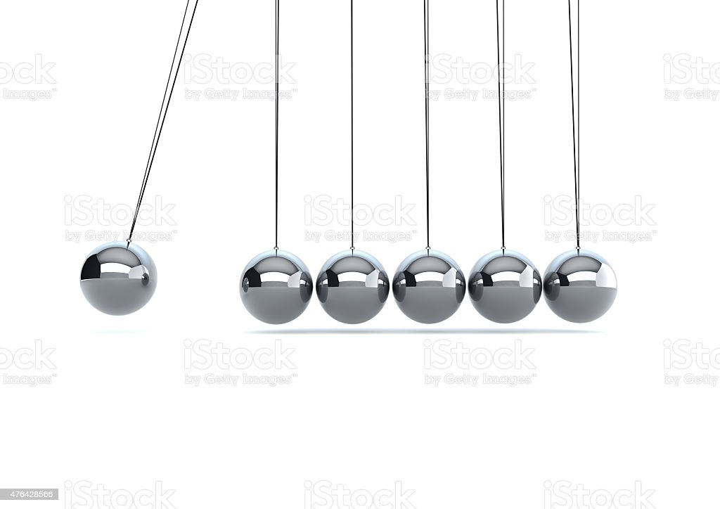 silver metal newtons cradle stock photo