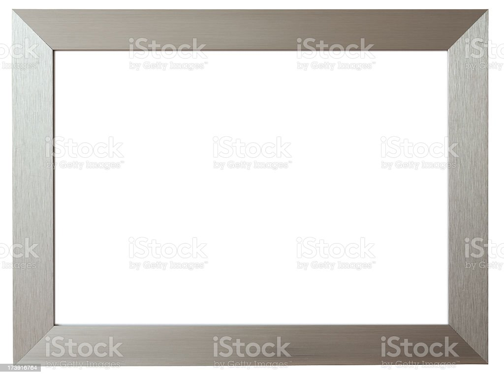 Silver metal picture frame against white background stock photo