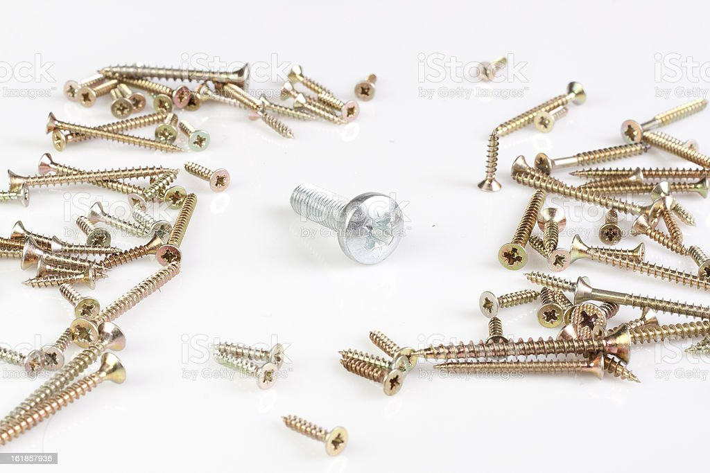Silver metal screw surrounded by many tech screws. royalty-free stock photo