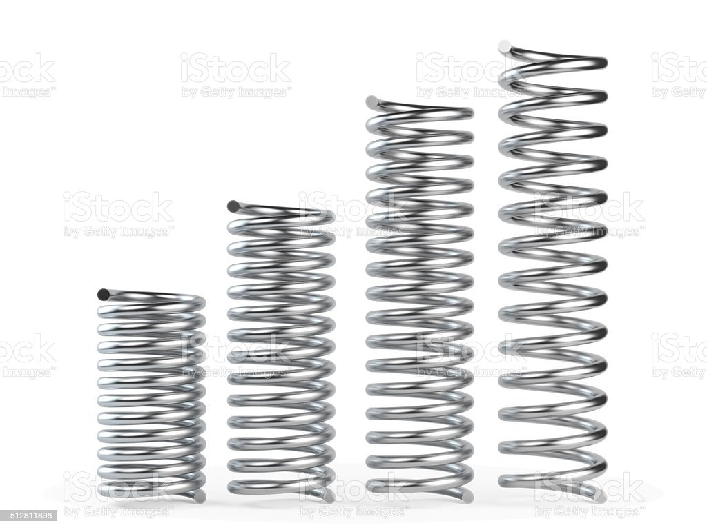 Silver Metal Spring In Different Sizes stock photo