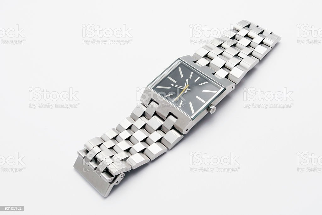 Silver metal watch royalty-free stock photo
