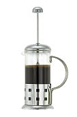 Silver metallic French press Coffee Pot with ground coffee
