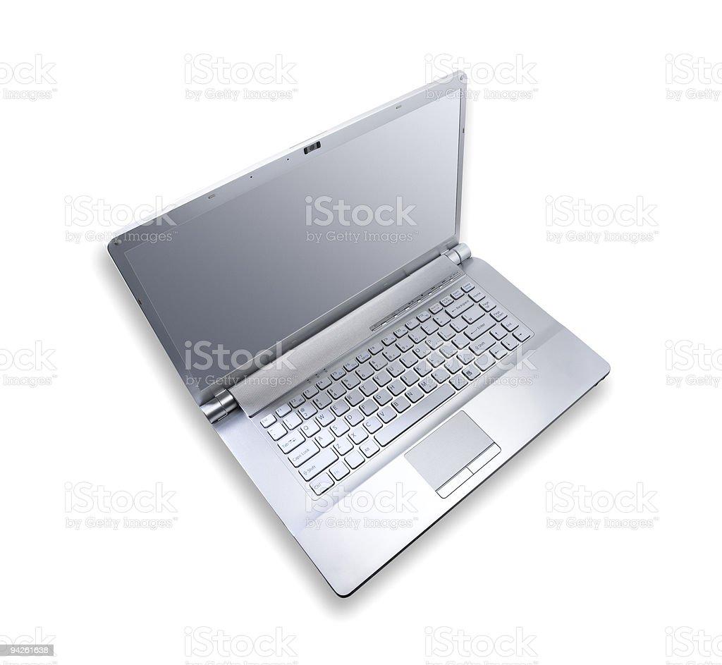 Silver metallic notebook computer royalty-free stock photo