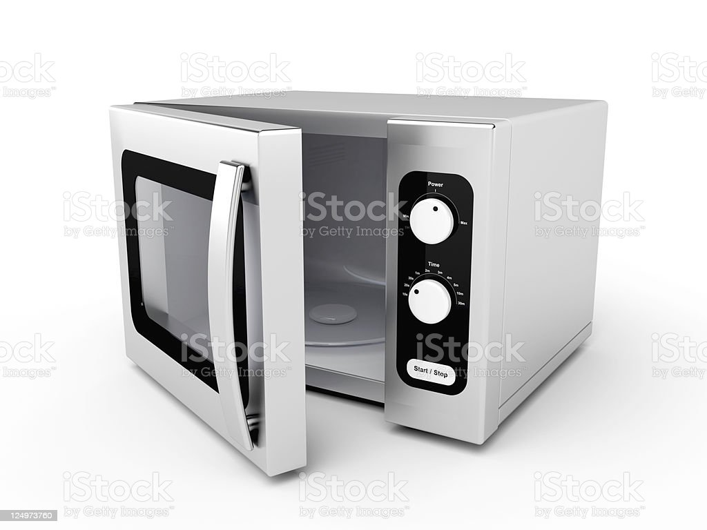 Silver microwave oven stock photo