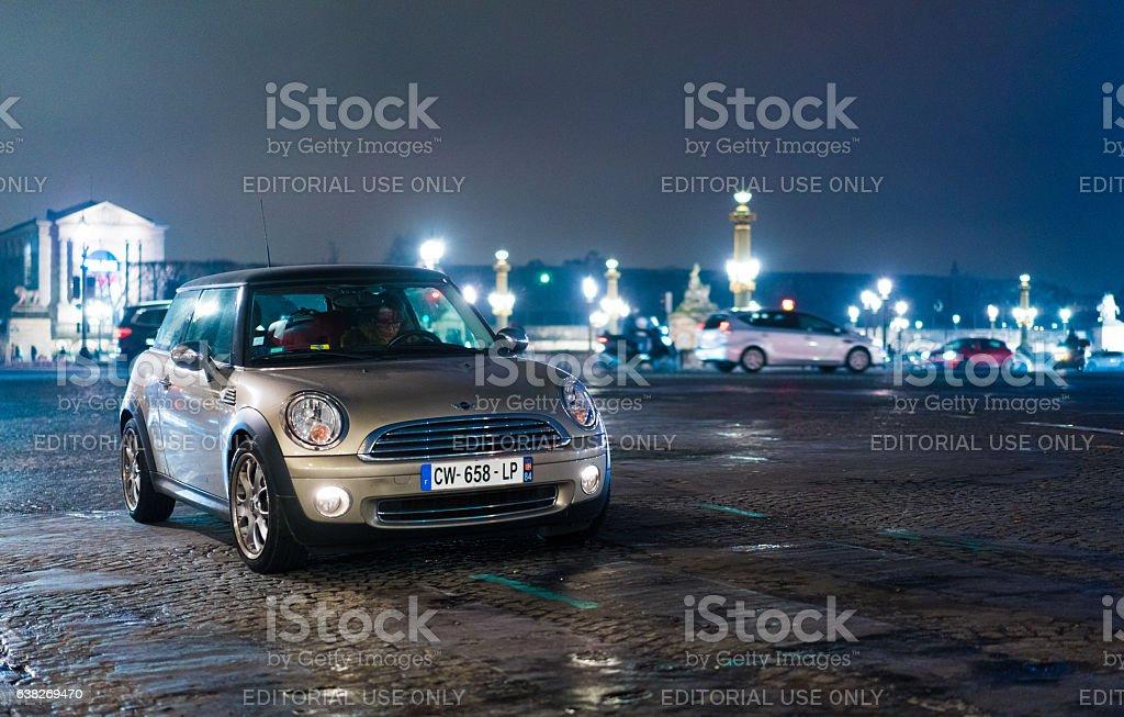 Silver Mini car in Paris stock photo