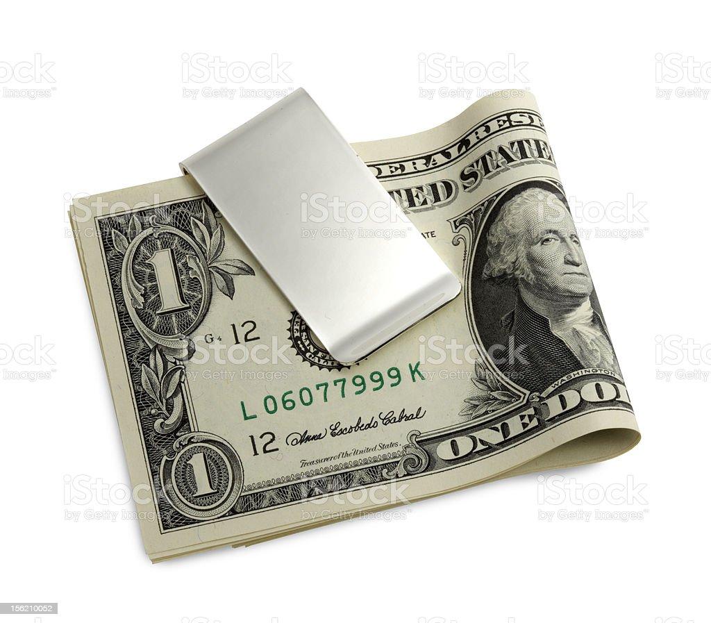 Silver money clip stock photo