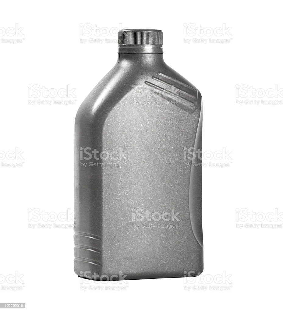 A silver motor oil can for cars stock photo