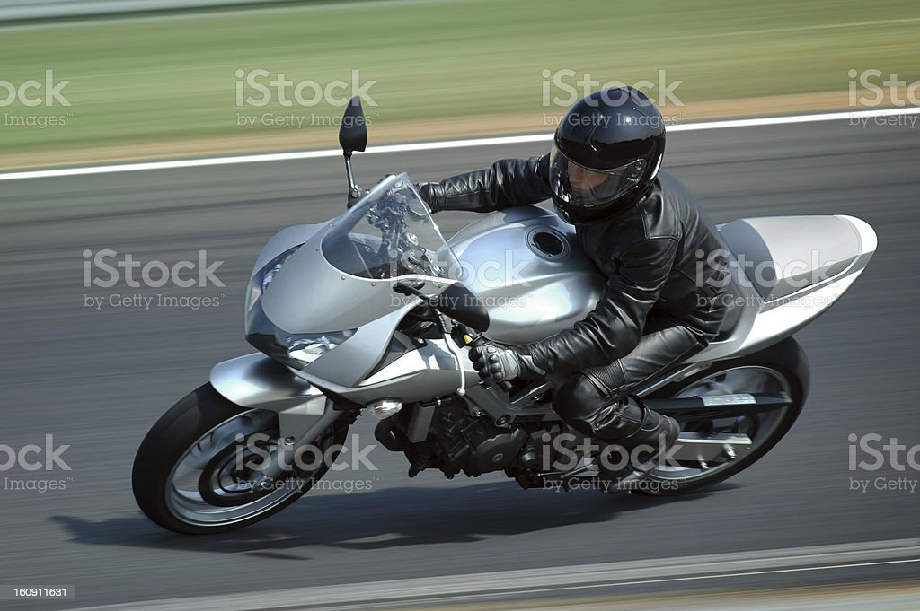 Silver motorcycle stock photo