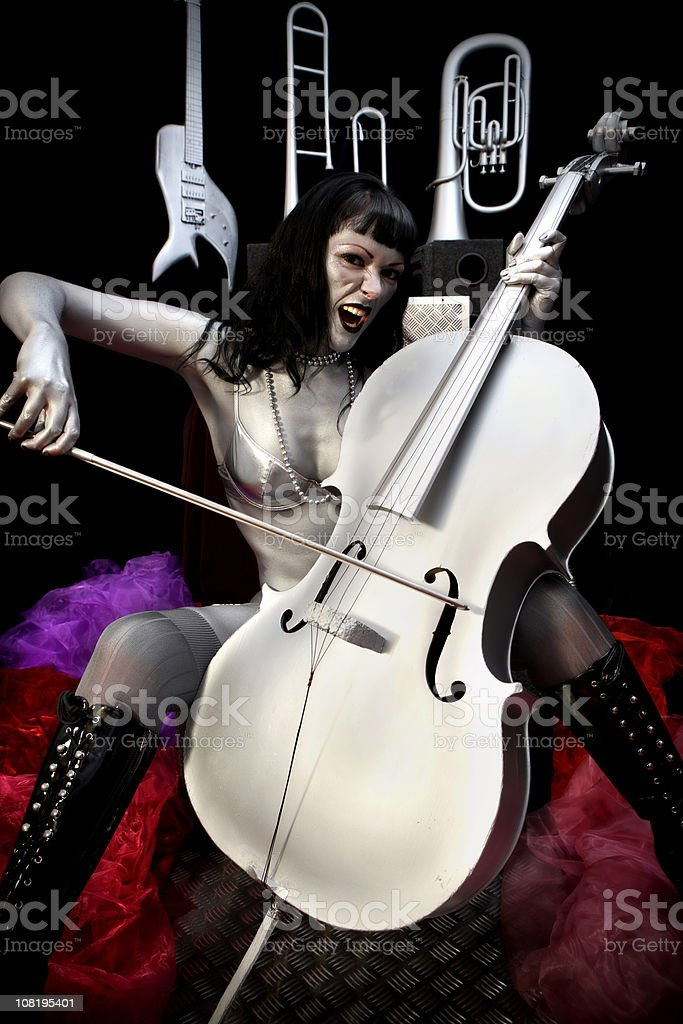Silver Muse plays cello royalty-free stock photo
