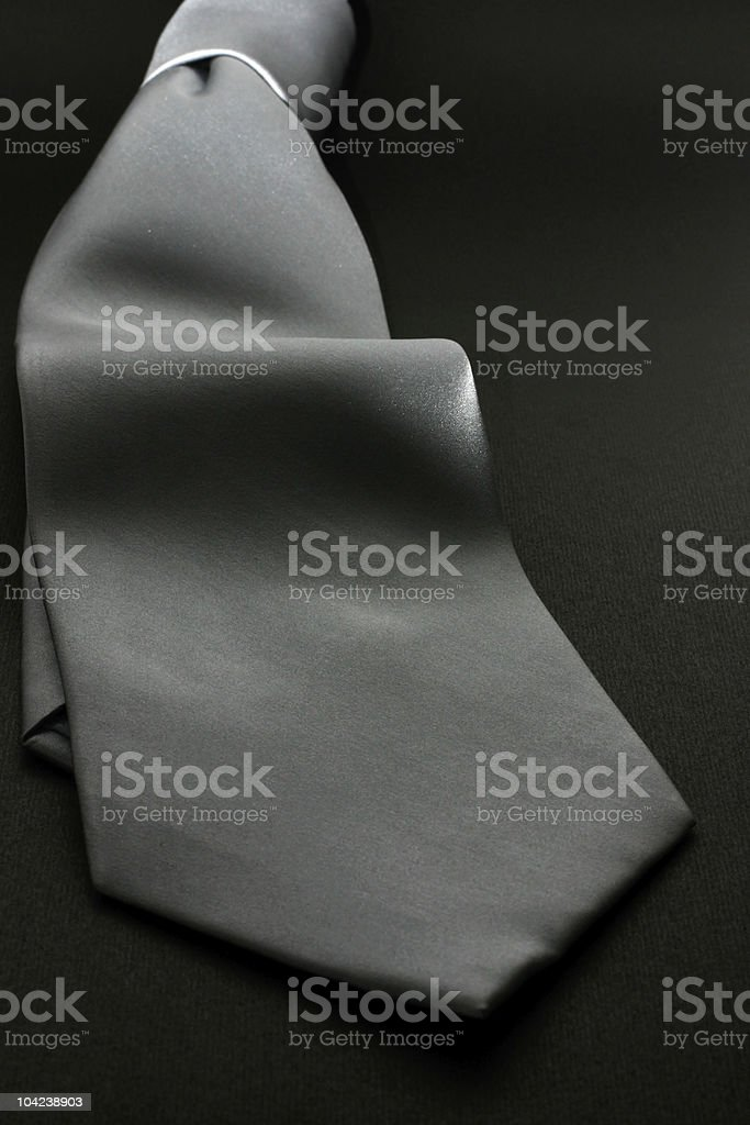 Silver Neck Tie Closeup stock photo