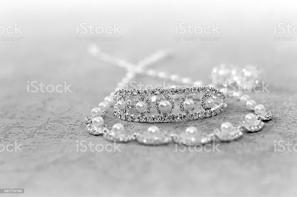 silver necklace with beads stock photo